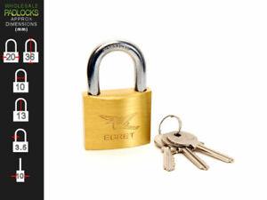 6 x Egret Keyed Alike 20mm Brass Lock Padlocks