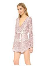 FAITHFULL The BRAND Talitha Dress (M) Bell Sleeves Deep V Print Pink NWT