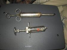 Vintage B-D Champion Hypodermic Syringes Metal Glass Tube Veterinary  Syringe