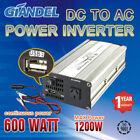 Power Inverter Modified Sine Wave 600W(1200W Max)12V- 240V+Car Plug Cable 1A USB