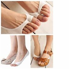 2 Pairs Women's Antiskid Invisible Liner Peds Socks Open Toe