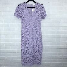 New Shoshanna 4 Paulina Short-Sleeve Lace Sheath Dress Orchid Purple Cocktail