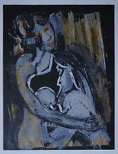 "ROBERT CALIX (1919/2008) Gouache  -"" ETREINTE FEMININE ""  Signé"