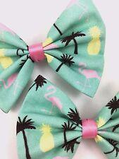 Summer Flamingos - Pastel Mint Hair Bow - Flamingo Palm Tree & Pineapple Print