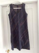 Vestido De Lino Jaeger 12-14 Negro/Marrón