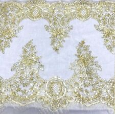 "Gold White Floral embroidered Mesh Fabric 12""W TableRunner Sabai Shawl Wedding"