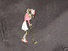Swinging Golf Club Pearl Lady Golfer Jewelry Tac Pin