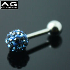 A single midnight blue cubic snow ball barbell earring stud piercing 18g