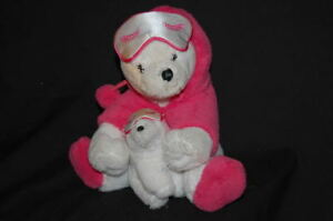 "Moma Teddy Bear With Baby White Pink Robe Bath & Body Works Plush 7"" Toy Lovey"