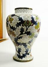 h128 OLD CHINESE CLOISONNE ENAMEL ON BRASS VASE, WHITE GROUND FLORAL