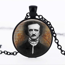 Edgar Allan Poe Portrait Black Glass Cabochon Necklace chain Pendant Wholesale