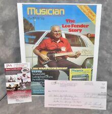 Leo Fender G&L 1980 Autographed Signed Check w/ Hp Magazine Cover Photo Jsa Coa
