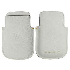 Genuino original BlackBerry Q10 Bolsa De Bolsillo De Cuero Blanco HDW-56737-001