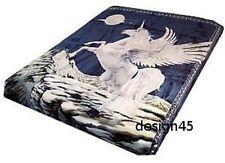 Solaron throw Blanket Thick Mink Plush Queen size Unicorn navy blue new