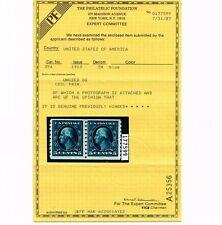 EXCEPTIONAL GENUINE SCOTT #396 FINE MINT OG H PF CERT 1913 BLUE COIL PAIR #10754