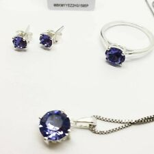 White gold finish purple amethyst Swarovski pendant necklace earrings and ring