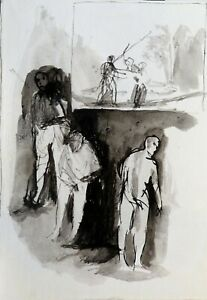 DOMESTIC SCENE people family wife original artwork from artist Frederic BELAUBRE