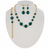 Teal Enamel Circle Link Necklace Pierced Earrings Bracelet Jewelry Set Vintage