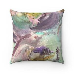 Lilac Bliss Mosaic Design Abstract Art  Polyester Square Pillow Case in Lilac, P