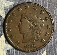 1828 Coronet Head Copper Large Cent Large Narrow Date Collector Coin