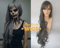 DELUXE EXTRA LONG GREY SKELETON WITCH ZOMBIE HALLOWEEN HORROR COSTUME WIG
