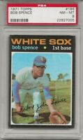 1971 TOPPS # 186 BOB SPENCE, PSA 8 NM-MT, CHICAGO WHITE SOX, L@@K