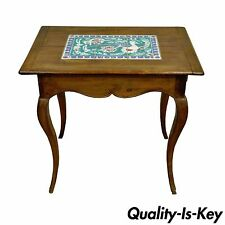 Antique Primitive French Country Cherry Bird Tile Top One Drawer Side End Table