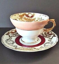 Royal Sealy Hand Painted China Japan Burgundy,Cream Footed Teacup,Saucer Set VGC
