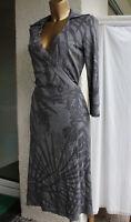 Closed Wickel-Kleid gr. M 38 40 grau mit Kragen und Binde-gürtel langarm