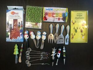 Lot Hors D'oeuvre Party Cheese Spreader Wine Bottle Stopper Markers Olive Spoons