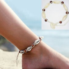 Cotton Rope Weave Handmade Sea Shell Bead Anklet Retro Bracelet Beach Jewelry