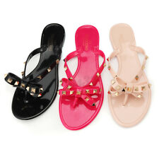 Women Summer Rivet Jelly Flip Flop Sandals Bolt Bowknot Crystal Thong Shoes /