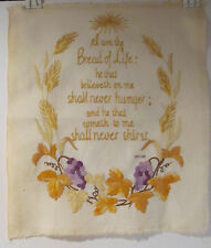 "VINTAGE ""I AM THE BREAD OF LIFE"" HANDMADE EMBROIDERY PICTURE Ready to Frame"