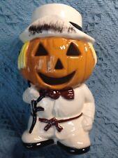 Vintage Halloween Pumpkin Scarecrow Candle Holder