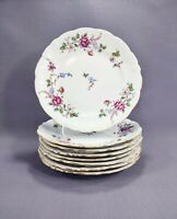 "Walbrzych China Made in Poland 6 3/4"" Bread Butter Plates Sheraton Rose Set of 8"