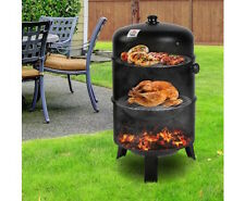 Smoker Griller Portable Charcoal BBQ Roaster Cooking Grill Meat Fish 3 in 1