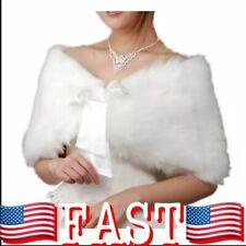 EQLEF® White Faux Fur Wrap Shawl Shrug Bolero Cape Lady Gift with Satin...