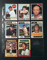 1969-75 Topps NY Yankees 8 Baseball Card Lot Peterson Stanley Woods Set Break