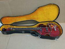 VINTAGE Crown 1961 Scroll Head violin shaped hollow body Bass guitar--MIJ