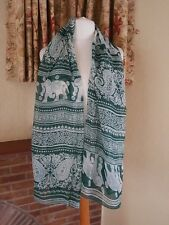 DK GREEN WHITE ELEPHANT CHRISTMAS FUN PRINT  SCARF WRAP - OTHER COLS AVAILABLE