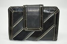 Fossil Black Genuine Leather Patent Leather Trim Small Clutch Wallet Coin Purse