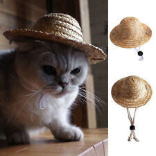 Novelty Summer Adjustable Pet Dog Outdoor Straw Hat Puppy Small Cat Sunhats Cute