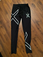Mens Size Medium 2XU Black Silver Compression Pants Running