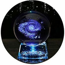 Galaxy Crystal Ball - Balls For Kids With Led Lamp Base, Clear 80mm(3 Inch) Art