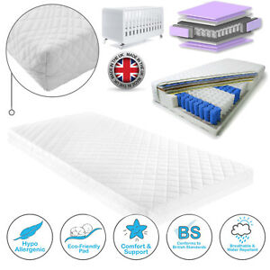 TODDLER BABY COT BED POCKET SPRUNG MATTRESS QUILTED COVER MATTRESS 140 x 70 CM