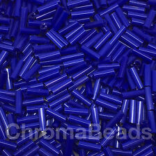 50g glass bugle beads - Deep Blue Opaque - approx 6mm tubes, jewellery making