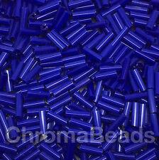 50g Vetro Bugle Perline-BLU PROFONDO OPACO-circa 6mm TUBI, gioielli