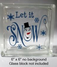 "Cute Let it SNOW with snowman face Christmas decal sticker for 8"" glass block"