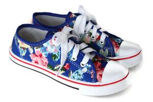 Mädchen Leinenschuhe Sportschuhe Sneaker Turnschuhe Blumenmuster Gr. 32 (4)