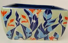 Anthropologie Sisters Gulassa Planter Vase Floral Pot Sage Blue Orange Leaves